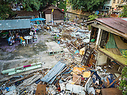 25 SEPTEMBER 2016 - BANGKOK, THAILAND:  A demolished home site in the Pom Mahakan Fort, one of 15 homes torn down by Bangkok officials over the weekend. Forty-four families still live in the Pom Mahakan Fort community. The city of Bangkok has given them provisional permission to stay, but city officials say the permission could be rescinded and the city go ahead with the evictions. The residents of the historic fort have barricaded most of the gates into the fort and are joined every day by community activists from around Bangkok who support their efforts to stay.     PHOTO BY JACK KURTZ