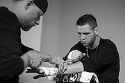 Clay Collard has his hands wrapped before his fight against Gabriel Benitez during UFC 188 at the Mexico City Arena in Mexico City, Mexico on June 13, 2015. (Cooper Neill)