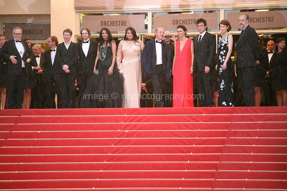 The cast on the red steps at the red carpet for the gala screening of Jimmy P. Psychotherapy of a Plains Indian film at the Cannes Film Festival 18th May 2013