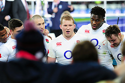 Dylan Hartley of England speaks to his team-mates in a post-match huddle - Mandatory byline: Patrick Khachfe/JMP - 07966 386802 - 19/03/2016 - RUGBY UNION - Stade de France - Paris, France - France v England - RBS Six Nations.