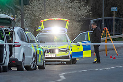 © Licensed to London News Pictures. 16/04/2021. Aylesbury, UK. The police car, with a damaged wing mirror, that struck a pedestrian, a 25-year-old woman from Aylesbury, on the A41 Bicester Road between Paradise Orchard and Jackson Road in Aylesbury. The pedestrian was struck by the police vehicle at approximately 17:50 BST on Friday 16th April while responding to a separate collision on the same road approximatly 2 miles to the west in Waddesdon. Thames Valley Police has made a mandatory referral to the Independent Office for Police Conduct (IOPC) following the collision. Photo credit: Peter Manning/LNP