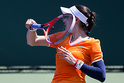 March 22, 2018 - Miami, Florida, United States - Christina Mchale, from the USA, hits a forehand during her match against Barbora Strycova, from the Czech Republic  on March 23, 2018 in Key Biscayne, Florida. Mchale defeated Strycova 6-1 6-4 (Credit Image: © Manuel Mazzanti/NurPhoto via ZUMA Press)