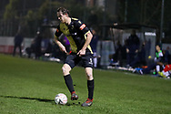 Marine defender Anthony Miley (5) controls the ball during the The FA Cup match between Marine and Havant & Waterlooville FC at Marine Travel Arena, Great Crosby, United Kingdom on 29 November 2020.