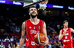 Stefan Bircevic of Serbia reacts during basketball match between National Teams of Russia and Serbia at Day 16 in Semifinal of the FIBA EuroBasket 2017 at Sinan Erdem Dome in Istanbul, Turkey on September 15, 2017. Photo by Vid Ponikvar / Sportida