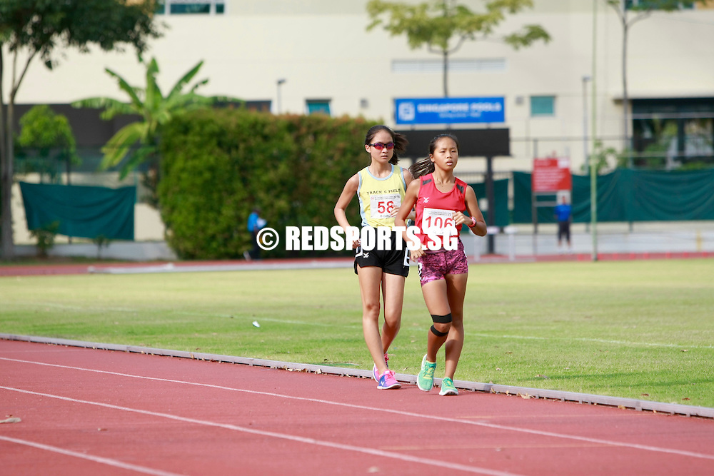 Bishan Stadium, Friday, April 22, 2016 — Dora Shoo blazed past the competition to claim the individual title for the B Division Girls' 1500m Walk at the 57th National Schools Track and Field Championships with a timing of 7 minutes 32.70s.
