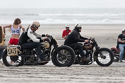Craig Roberts of Alberta, Canada on his 1945 Harley-Davidson Chinook Wind Knucklehead racing against Mike Silvio on his Harley-Davidson Knucklehead at TROG (The Race Of Gentlemen). Wildwood, NJ. USA. Saturday June 9, 2018. Photography ©2018 Michael Lichter.
