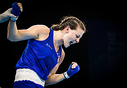 England's Sandy Ryan celebrates her win over Wales' Rosie Eccles during the Woman's Welter (64-69kg) final at Oxenford Studios during day ten of the 2018 Commonwealth Games in the Gold Coast, Australia.