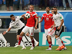 June 19, 2018 - St. Petersburg, Russia - 19 June 2018, Russia, St. Petersburg, FIFA World Cup 2018, First Round, Group A, First Matchday, Russia v Egypt. Player of the national team Yuri Gazinsky (8), Alexander Samedov  (Credit Image: © Russian Look via ZUMA Wire)