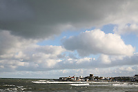 View of Sandycove Dublin Ireland with rough sea