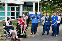 Nurses & patients at Thursday 8pm clap for carers during Coronavirus lockdown, Royal Berkshire Hospital, UK May 2020