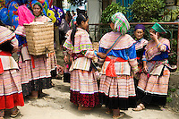 Flower Hmong women at Bac Ha Market. The terms Hmong  and Mong  refer to an Asian ethnic group in the mountainous regions of southeast Asia.  Hmong groups began a gradual southward migration due to political unrest and to find more arable land. As a result, Hmong live in several countries in Southeast Asia, including northern Vietnam, Laos, Thailand and Burma.  There are various types of Hmong throughout Southeast Asia, including Black Hmong and Flower Hmong, named after the styles of their clothing and costumes.