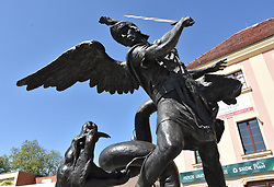 May 5, 2018 - Lubin, Poland - Monument to Archangel Michael. The statue cost over PLN 1,000,000 and was financed from the budget of the city of Lubin. (Credit Image: © Piotr Twardysko via ZUMA Wire)