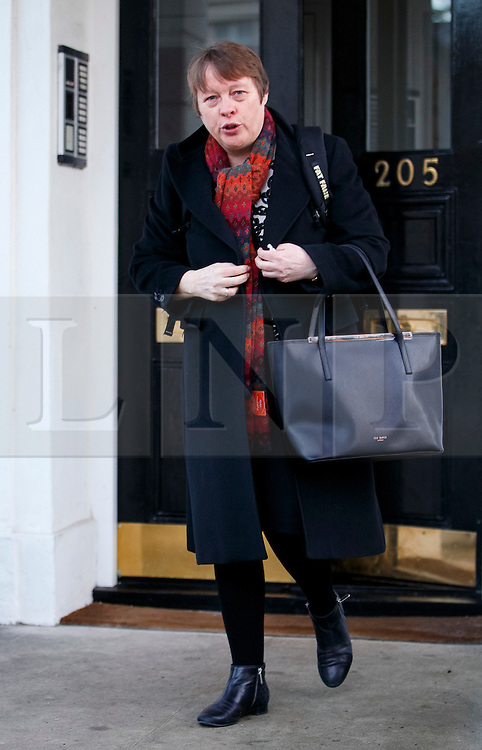 © Licensed to London News Pictures. 05/01/2016. London, UK. London, UK. Shadow Defence Secretary MARIA EAGLE leaving her London home on Tuesday, 5 January 2015. Reports have suggested that Maria Eagle might be moved from her position as shadow defence secretary in this week's expected shadow cabinet reshuffle. Photo credit: Tolga Akmen/LNP