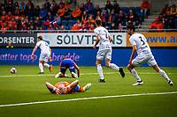 1. divisjon fotball 2018: Aalesund - Mjøndalen. Frustrasjon etter en stor sjanse i førstedivisjonskampen i fotball mellom Aalesund og Mjøndalen på Color Line Stadion.