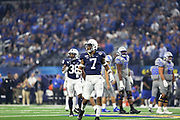 Penn State Nittany Lions safety Jaquan Brisker (7) and safety Lamont Wade (38) look over at the sideline for direction during the game of the NCAA Cotton Bowl Classic football game against the Memphis Tigers, Saturday, Dec. 28, 2019 at AT&T Stadium in Arlington, Texas. Penn State defeated Memphis 53-39. (Mario Terrana/Image of Sport)