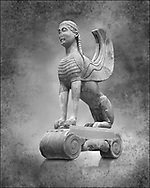 Archaic ancient Greek sculpture of a Sphinx originally on top of the column of Naxos, 570-560 BC, Delphi National Archaeological Museum. Black and White Wall art print by Photographer Paul E Williams .<br /> <br /> If you prefer visit our World Gallery Print Shop To buy a selection of our prints and framed prints desptached  with a 30-day money-back guarantee and is dispatched from 16 high quality photo art printers based around the world. ( not all photos in this archive are available in this shop) https://funkystock.photoshelter.com/p/world-print-gallery<br /> <br /> Visit our HISTORIC WALL ART PRINT COLLECTIONS for more photo prints https://funkystock.photoshelter.com/gallery-collection/Historic-Antiquities-Photo-Wall-Art-Prints-by-Photographer-Paul-E-Williams/C00002uapXzaCx7Y<br /> <br /> Visit our Museum ART & ANTIQUITIES COLLECTIONS to browse more photo at: https://funkystock.photoshelter.com/p/museum-antiquities Visit our World Gallery Print Shop To buy a selection of our prints and framed prints desptached  with a 30-day money-back guarantee and is dispatched from 16 high quality photo art printers based around the world.