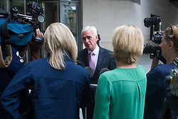 London, July 16th 2017. Labour's Shadow Chancellor John McDonnell talks to the media after attending the BBC's Andrew Marr Show at Broadcasting House in London.