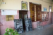 Train timetable at the railway station, Galle, Sri Lanka, Asia