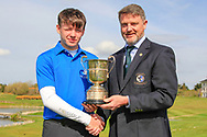 Niall MacSweeney (Hon Treasurer Connacht Golf) presents the Cup to Joshua Hill (Galgorm Castle) on winning the Connacht U16 Boys Amateur Open Championship at Galway Bay Golf Club, Oranmore, Galway on Wednesday 17th April 2019.<br /> Picture:  Thos Caffrey / www.golffile.ie