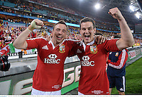 6 July 2013; Tommy Bowe, left, and Jonathan Sexton, British & Irish Lions, celebrate victory over Australia. British & Irish Lions Tour 2013, 3rd Test, Australia v British & Irish Lions. ANZ Stadium, Sydney Olympic Park, Sydney, Australia. Picture credit: Stephen McCarthy / SPORTSFILE
