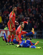 Aaron Ramsey of Wales © celebrates after scoring the 1st goal. Wales v Andorra, Euro 2016 qualifying match at the Cardiff city stadium  in Cardiff, South Wales  on Tuesday 13th October 2015. <br /> pic by  Andrew Orchard, Andrew Orchard sports photography.