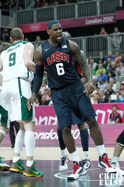 04 August 2012: LeBron James reacts during 99-94 Team USA victory over Team Lithuania, during the men's basketball preliminary, at the Basketball Arena, in London, Great Britain.