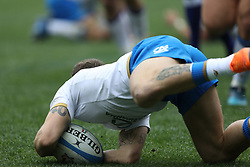 March 17, 2018 - Rome, RM, Italy - Matteo Minozzi of Italy mark the second point during the Six Nations 2018 match between Italy and Scotland at Olympic Stadium on March 17, 2018 in Rome, Italy. (Credit Image: © Danilo Di Giovanni/NurPhoto via ZUMA Press)