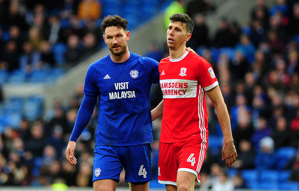 Cardiff City's Sean Morrison and Middlesbrough's Daniel Ayala<br /> <br /> Photographer Ashley Crowden/CameraSport<br /> <br /> The EFL Sky Bet Championship - Cardiff City v Middlesbrough - Saturday 17th February 2018 - Cardiff City Stadium - Cardiff<br /> <br /> World Copyright © 2018 CameraSport. All rights reserved. 43 Linden Ave. Countesthorpe. Leicester. England. LE8 5PG - Tel: +44 (0) 116 277 4147 - admin@camerasport.com - www.camerasport.com