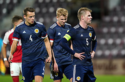 Scotland's Stephen Welsh (right) and Lewis Mayo (left) react after the UEFA Under-21 Championship Qualifying Round Group I match at Tynecastle Park, Edinburgh. Picture date: Thursday, October 7, 2021.