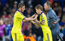 Luka Zahovic (R) of Maribor as substitute  for Agim Ibraimi of Maribor during football match between Chelsea FC and NK Maribor, SLO in Group G of Group Stage of UEFA Champions League 2014/15, on October 21, 2014 in Stamford Bridge Stadium, London, Great Britain. Photo by Vid Ponikvar / Sportida.com