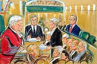 ©PRISCILLA COLMAN (ITN NEWS).PIC SHOWS: TED FRANCIS IN THE WITNESS BOX TODAY AT THE LORD BAILEY WHERE HE AND LORD ARCHER ARE ON TRIAL FOR PERJURY.ILLUSTRATION BY PRISCILLA COLEMN (ITN)