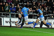 Hanno Dirksen of the Ospreys dives over to score one of his tries.  Heineken cup, season 2012-2013, pool 2 match, Ospreys v Benetton Treviso at the Liberty Stadium in Swansea, South Wales on Friday 12th October 2012.  pic by  Andrew Orchard, Andrew Orchard sports photography,