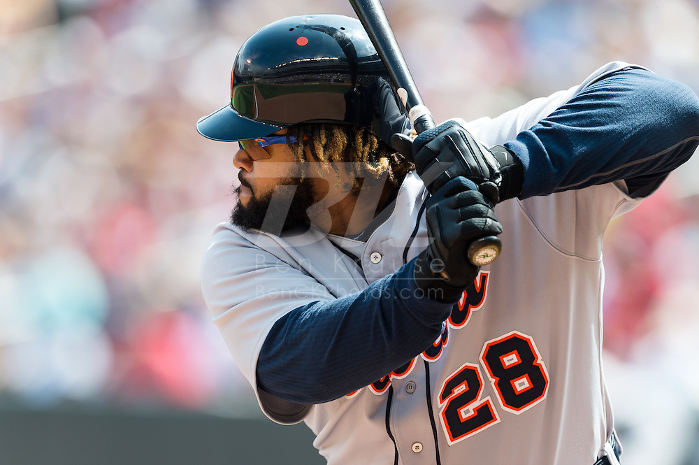 Prince Fielder (28) of the Detroit Tigers bats during a game against the Minnesota Twins on August 15, 2012 at Target Field in Minneapolis, Minnesota.  The Tigers defeated the Twins 5 to 1.  Photo: Ben Krause