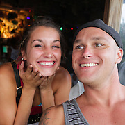 Kayleigh Shaw, left, and Stephen Lilly pose for a photo Thursday August 7, 2014 during The Shrip-A-Roo at Buddy's Crab House & Oyster Bar in Wrightsville Beach, N.C.  (Jason A. Frizzelle)