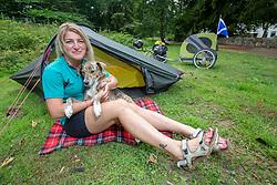 World Bike Girl Ishbel Holmes and dog Maria in Denny, Falkirk.