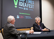 Madison Mayor Paul Soglin, right, speaks with Dave Zweifel during the Cap Times Idea Fest 2018 at the Pyle Center in Madison, Wisconsin, Saturday, Sept. 29, 2018.