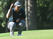 ST. LOUIS, MO - AUGUST 09: Tiger Woods lines up his putt on the #10 green during the first round of the PGA Championship on August 09, 2018, at Bellerive Country Club, St. Louis, MO.  (Photo by Keith Gillett/Icon Sportswire)