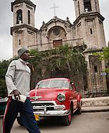 Cigar, car, and church, Iglesia del Cristo, Havana, Cuba