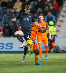 Falkirk's Rory Loy and Dundee United's Brandon Mason. Falkirk 6 v 1 Dundee United, Scottish Championship game played 6/1/2018 played at The Falkirk Stadium.