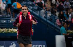 February 19, 2019 - Dubai, ARAB EMIRATES - Simona Halep of Romania celebrates winning her second-round match at the 2019 Dubai Duty Free Tennis Championships WTA Premier 5 tennis tournament (Credit Image: © AFP7 via ZUMA Wire)