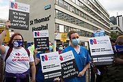 NHS staff prepare to march from St Thomas Hospital to Downing Street to protest against the NHS Pay Review Bodys recommendation of a 3% pay rise for NHS staff in England on 30th July 2021 in London, United Kingdom. The protest march was supported by Unite the union, which has called on incoming NHS England Chief Executive Amanda Pritchard to ensure that a NHS pay rise comes from new Treasury funds rather than existing NHS budgets and which is shortly expected to put a consultative ballot for industrial action to its members.