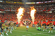 Sept 17, 2012, Atlanta, Georgia, USA;  Tony Gonzalez of the Atlanta Falcons runs onto the field during player introductions before the start of the game against the Denver Broncos at the Georgia Dome.