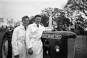 06/05/1965<br /> 05/06/1965<br /> 06 May 1965<br /> Final of the 4th Annual David Brown Tractor and Implement Maintenance Competition held at the RDS Spring Show, Ballsbridge, Dublin. John Kehoe (right), of Tincurry, Ferns, Co. Wexford and his helper, John Denby of Castlelands, Ferns smile as they are declared winners of the competition. The winner and his helper would receive special educational scholarships to the David Brown Farm Machinery Service School in  Meltham, Yorkshire, England.