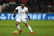 Jordon Ayew of Swansea city in action. Premier league match, Swansea city v West Bromwich Albion at the Liberty Stadium in Swansea, South Wales on Saturday 9th December 2017.<br /> pic by  Andrew Orchard, Andrew Orchard sports photography.