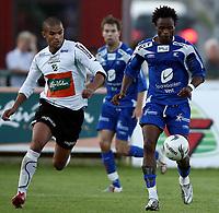 Fotball <br /> Adeccoligaen<br /> Hønefoss Idrettspark<br /> 24.08.08<br /> Hønefoss BK  v  FK Haugesund  1-1<br /> <br /> Foto: Dagfinn Limoseth, Digitalsport<br /> Sheriff Suma , Haugesund og Kamal Saaliti , Hønefoss