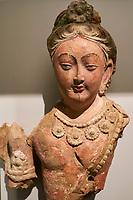 France, Paris (75), Musée Guimet, Tête et buste de Bodhisattva, Kucha, Xinjiang, VII e siecle // France, Paris, Guimet museum, Bodhisatva head, Kucha, Xinjiang, 8e century