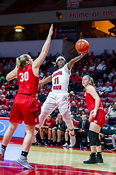 NORMAL, IL - February 07: Tete Maggett lays up the ball as she passes Emily Marsh during a college women's basketball game between the ISU Redbirds and the Braves of Bradley University February 07 2020 at Redbird Arena in Normal, IL. (Photo by Alan Look)