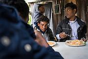 December 5, 2016 - Breil-sur-Roya, France: Eritrean migrants that found shelter on the farm of Cedric Herrou. Cedric is one of the 120 inhabitants of the village Breil-sur-Roya in the Roya valley, in the Alps on the French Italian border, who formed a network to help migrants who walked into the valley from Ventimiglia, Italy. <br /> <br /> 5 décembre 2016 - Breil-sur-Roya, France: des migrants érythréens qui ont trouvé refuge sur la ferme de Cedric Herrou. Cédric est un des 120 habitants du village de Breil-sur-Roya dans la vallée de la Roya, dans les Alpes à la frontière franço-italienne, qui a formé un réseau pour aider des migrants qui sont entrés dans la vallée par Vintimille en Italie.