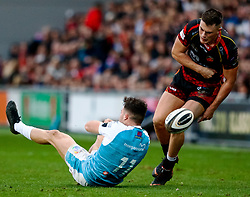 Jared Rosser of Dragons strips the ball from Luke Morgan of Ospreys<br /> <br /> Photographer Simon King/Replay Images<br /> <br /> Guinness PRO14 Round 12 - Dragons v Ospreys - Sunday 30th December 2018 - Rodney Parade - Newport<br /> <br /> World Copyright © Replay Images . All rights reserved. info@replayimages.co.uk - http://replayimages.co.uk