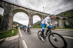 Riders in Baca pri Modreju during 2nd Stage from Portoroz to Soca, 303km at Day 2 of DOS 2021 Charity event - Dobrodelno okrog Slovenije, on April 28, 2021, in Slovenia. Photo by Vid Ponikvar / Sportida